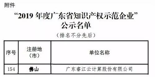 睿江云获2019年广东省知识产权示范企业