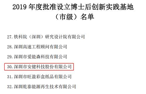 深圳市人社局批准安健科技等75家单位设立博士后创新实践基地