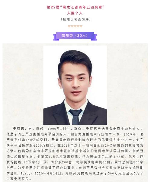 """捐了1.5亿的辛有志辛巴再被认可 荣获""""黑龙江省青年五四奖章"""""""
